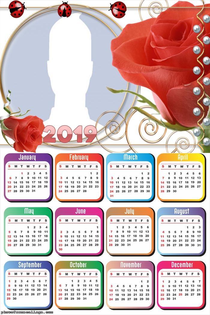 Red Rose Calendar 2019