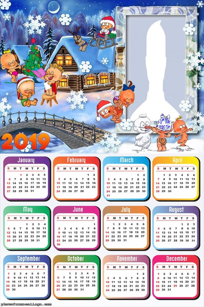 Christmas Baby Calendar 2019 Photo Frame Collage