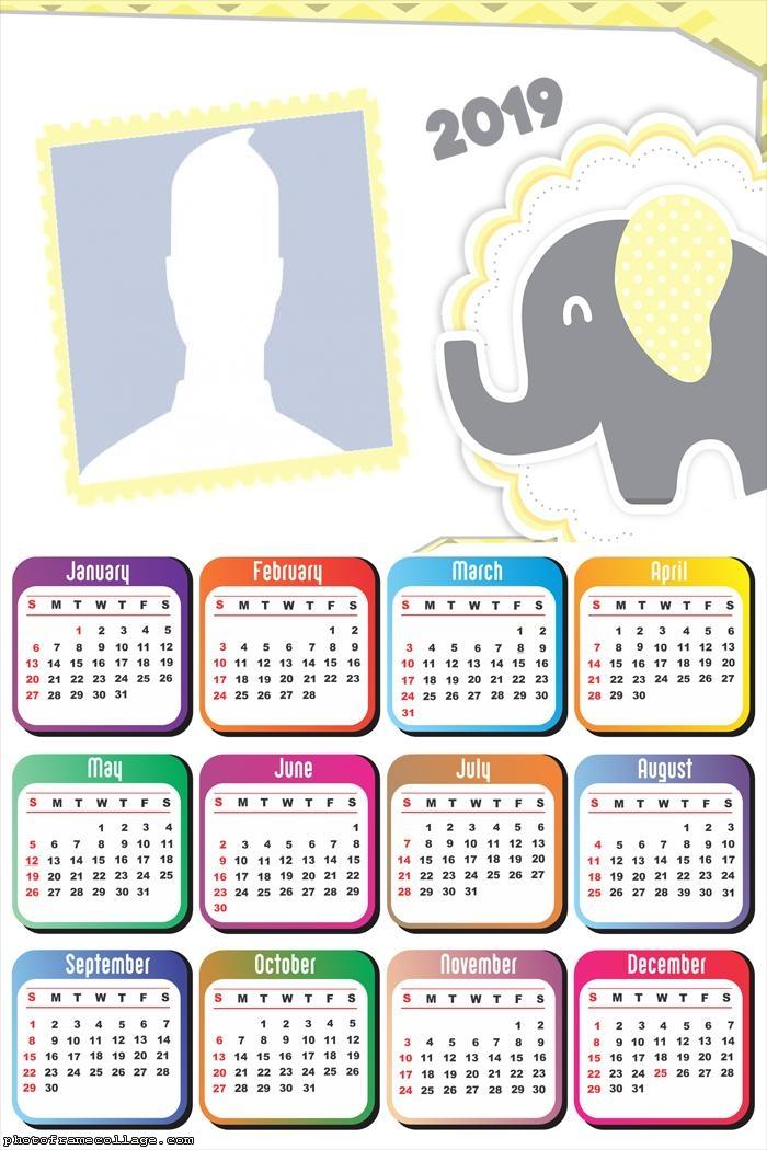 Yellow and Gray Elephant Calendar 2019