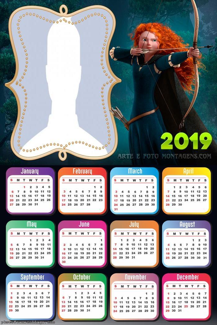 Brave Princess Merida Calendar 2019