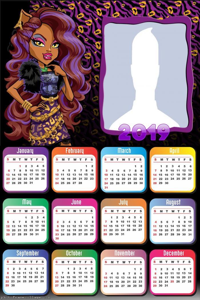 Clawdeen Monster High Calendar 2019