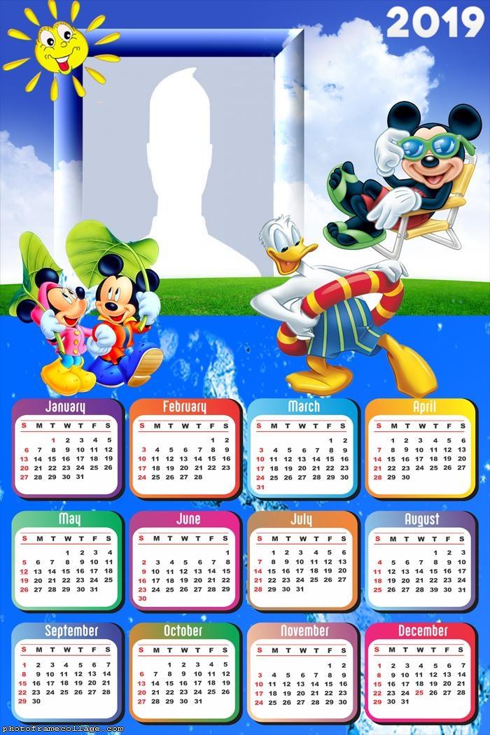 Disney 2019 Calendar Mickey Summer Disney Calendar 2019 | Photo Frame Collage