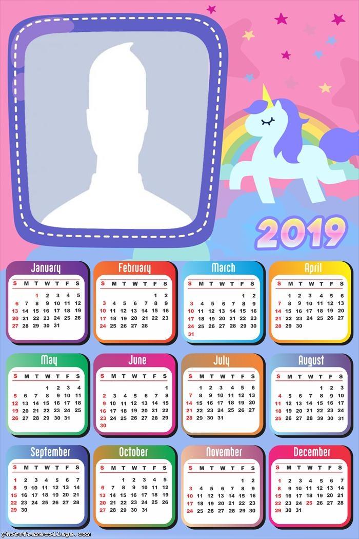 Unicorn Candy Color Calendar 2019