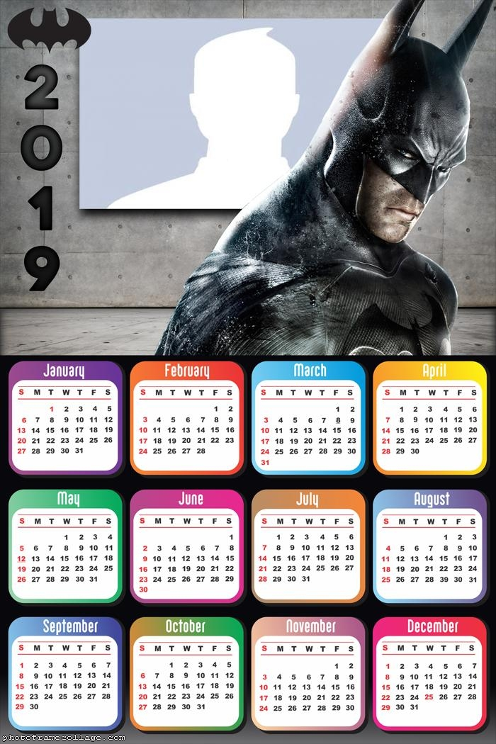 Batman Black Calendar 2019