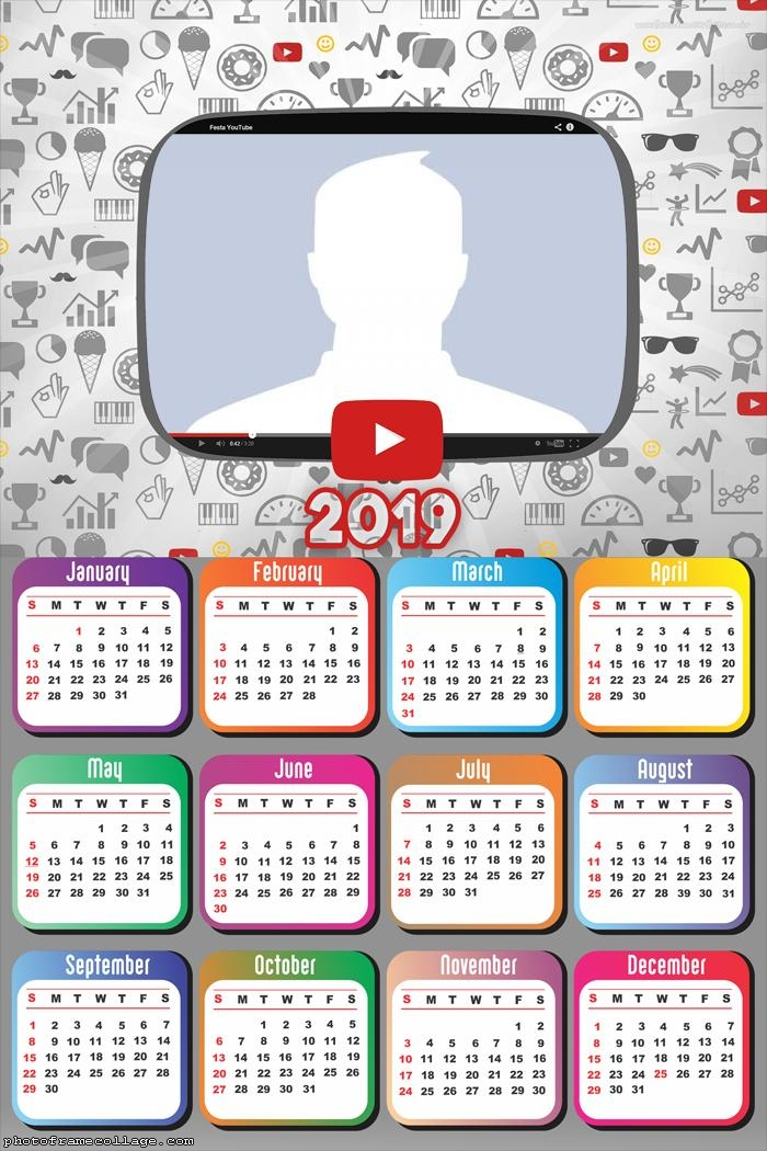 Youtube Calendar 2019 Photo Montage