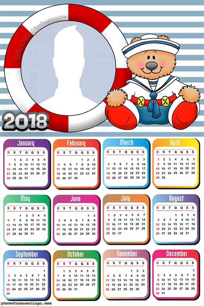 Calendar 2018 Sailor Teddy Bear