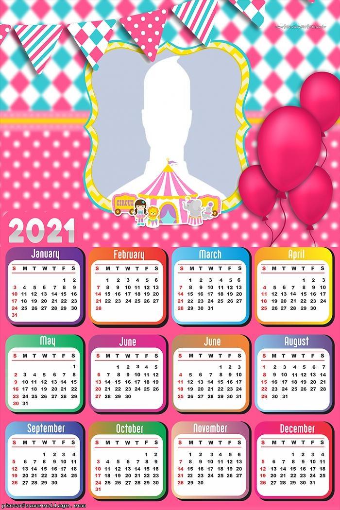 Calendar 2021 Girl Circus Birthday