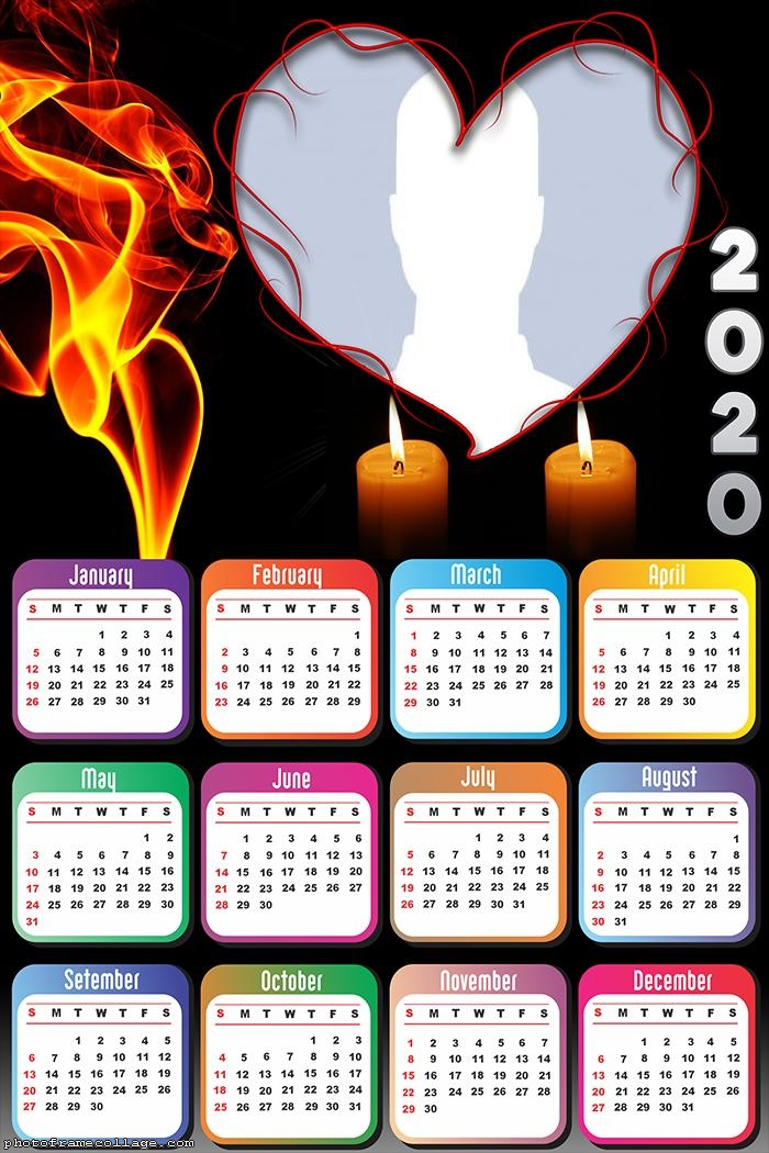 Fire and Candle Heart Calendar 2020