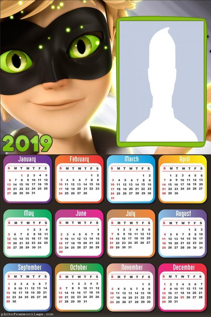 Face Cat Noir Calendar 2019