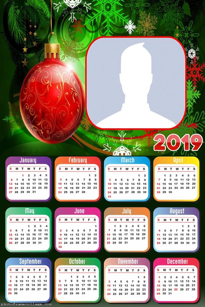 Christmas Ball Red Calendar 2019