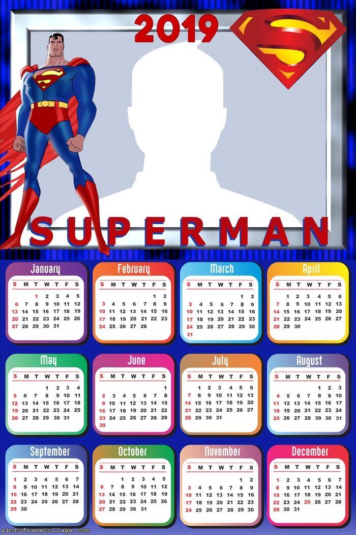 SuperMan Cartoon Calendar 2019
