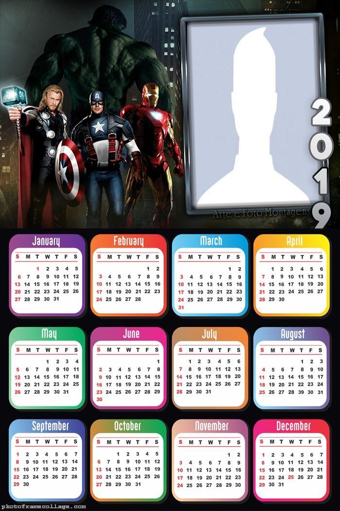 Avengers Calendar 2019