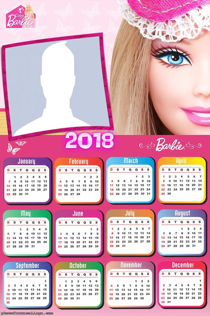 Calendar 2018 Barbie Face