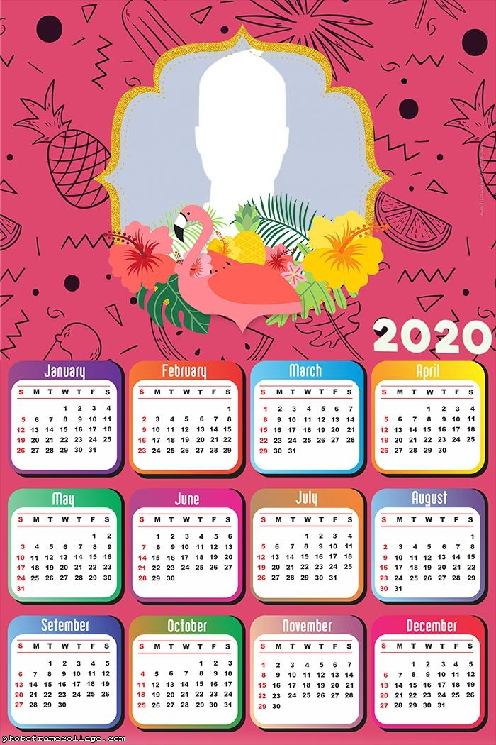 Calendar 2020 Pink Flamingo