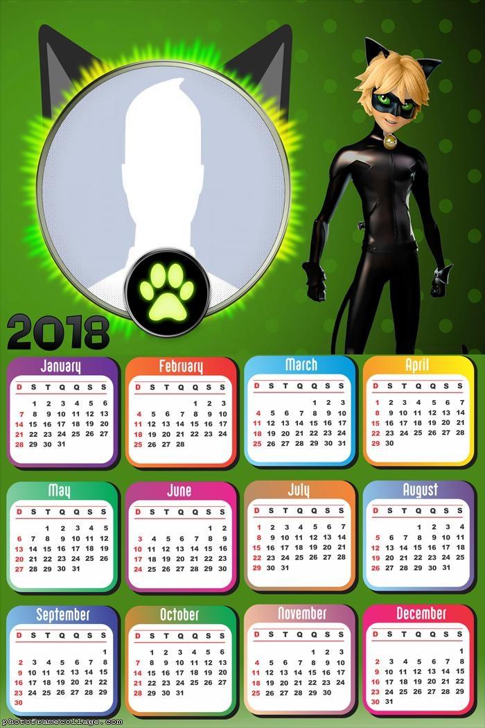 Calendar 2018 Cat Noir
