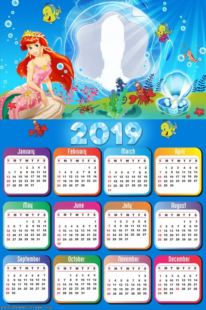 Mermaid Disney Calendar 2019