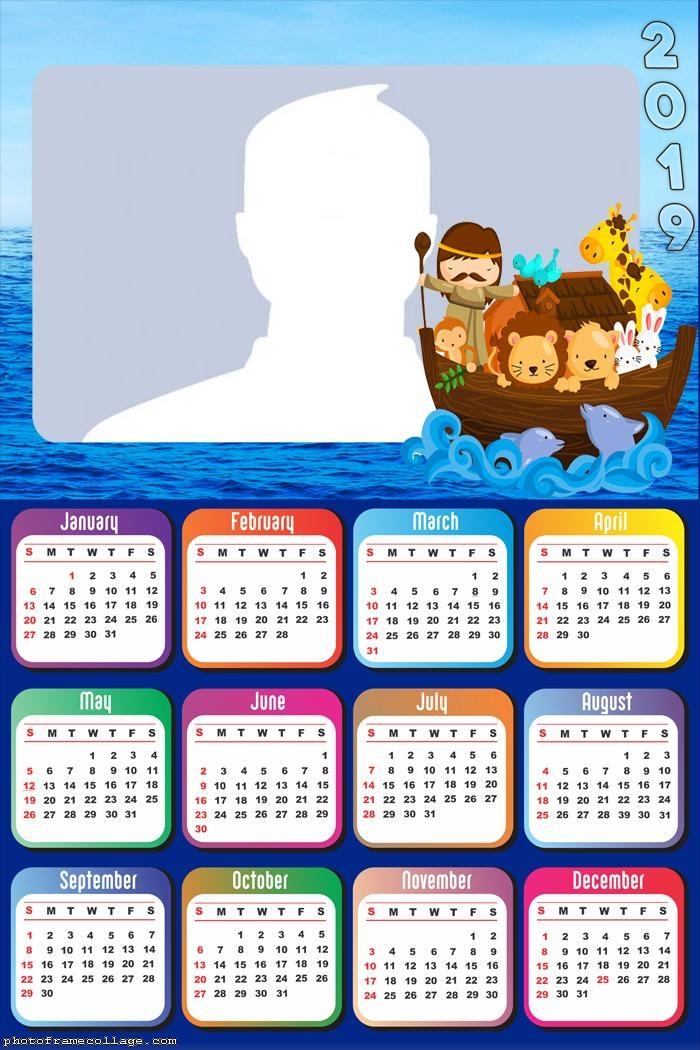 Ark of Noah Cartoon Calendar 2019