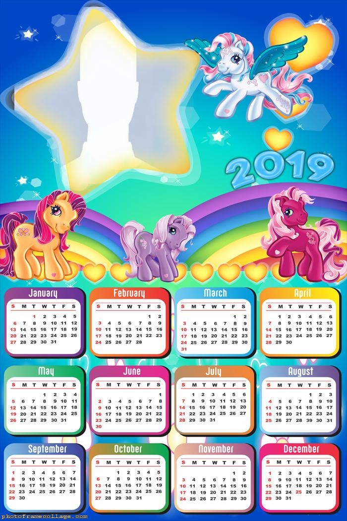 little pony star calendar 2019 photo frame collage