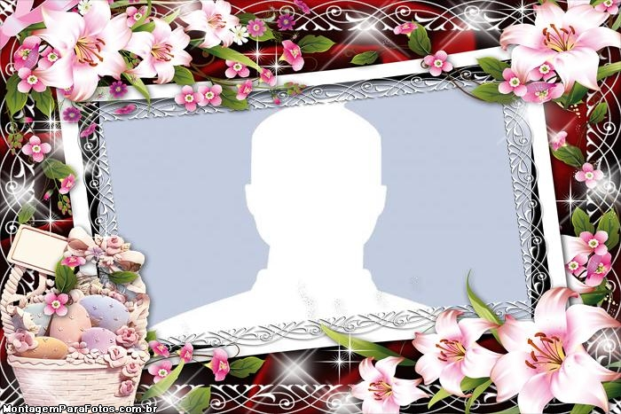 Easter Frame with Beautiful Flowers