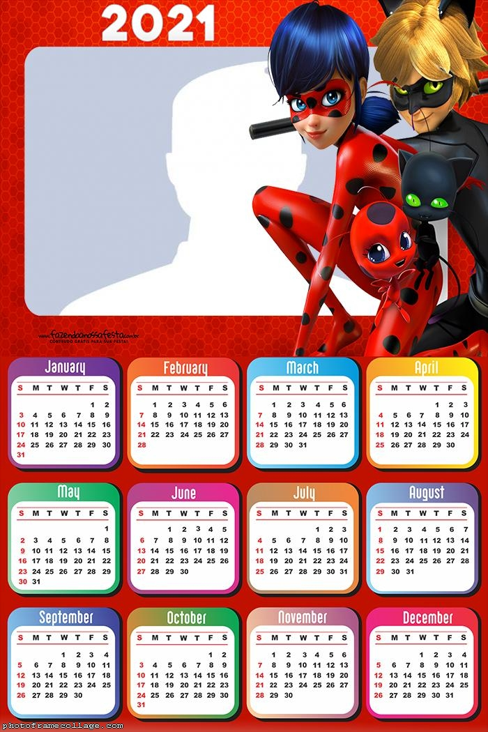 Calendar 2021 Cat Noir and Ladybug