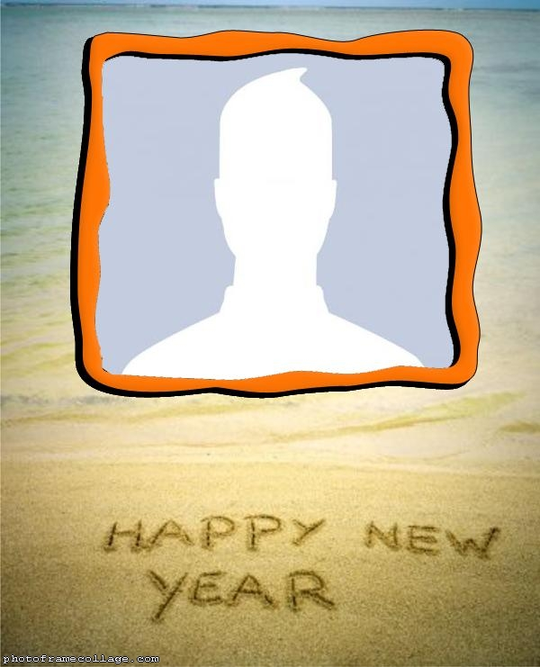 Happy New Year in the Sand of the Beach