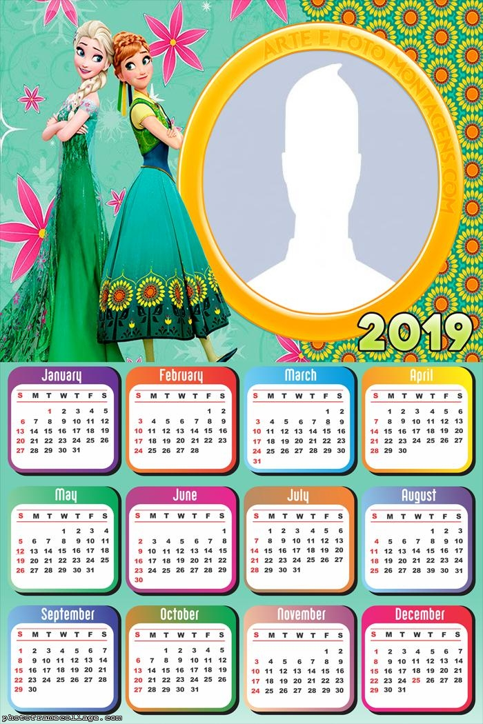 Anna and Elsa Frozen Calendar 2019