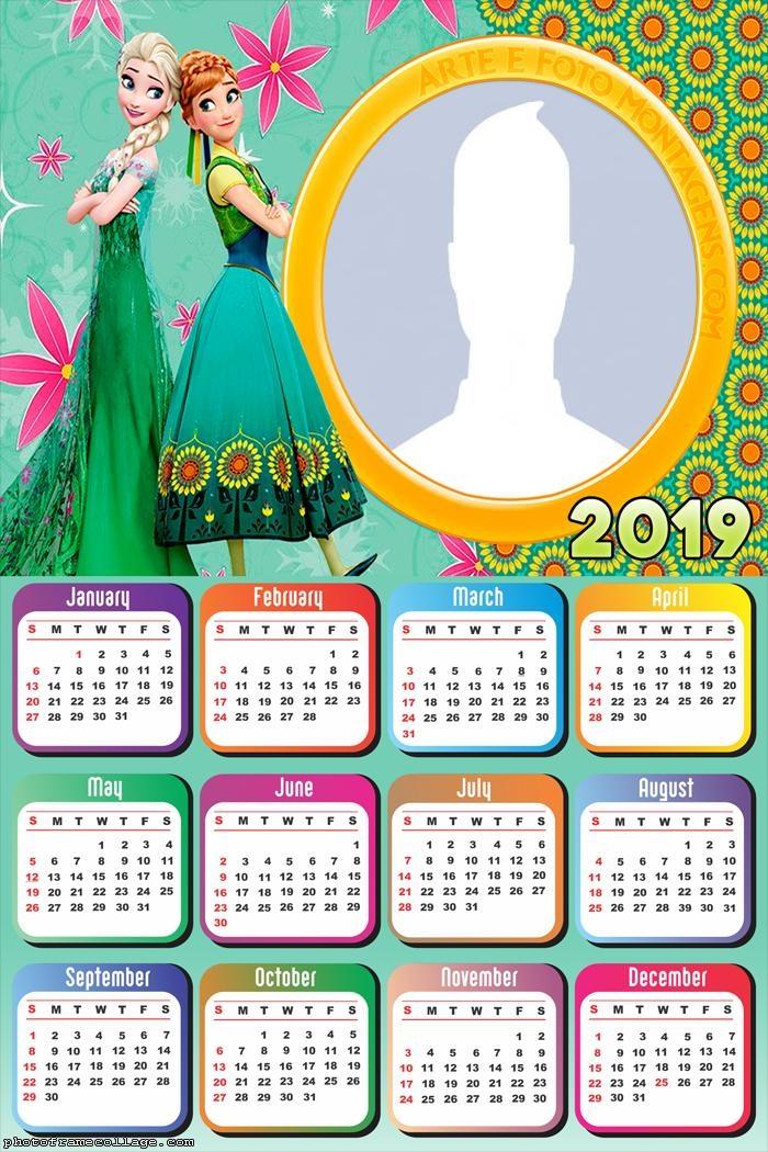 Anna and Elsa Frozen Calendar 2019