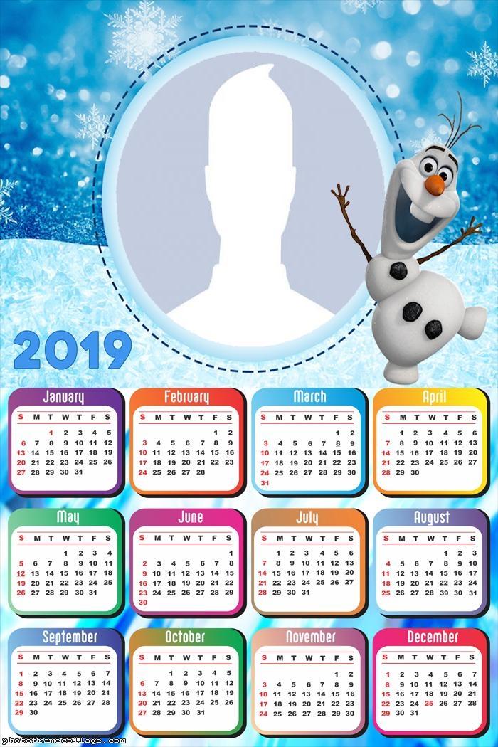 Olaf Snowman Calendar 2019