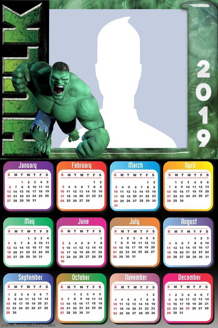 Hulk Calendar 2019