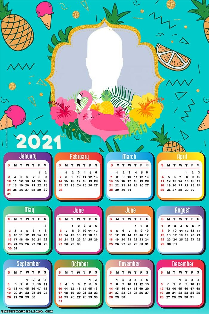 Calendar 2021 Flamingo Blue