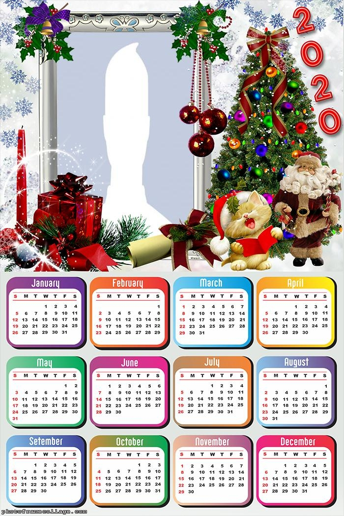 Calendar Christmas 2020 Santa Claus Merry Christmas Calendar 2020 | Photo Frame Collage