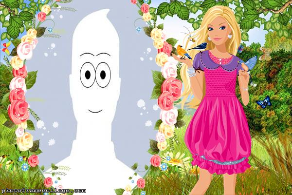 Barbie and Flowers Photo Collage