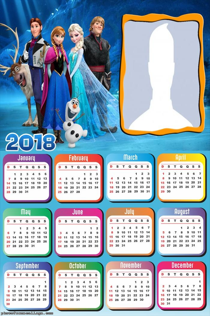Calendar 2018 Frozen Characters