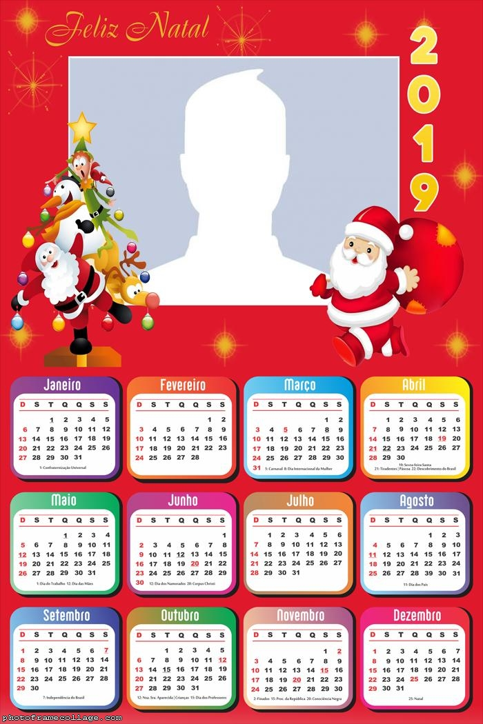 Tree and Santa Claus Calendar 2019