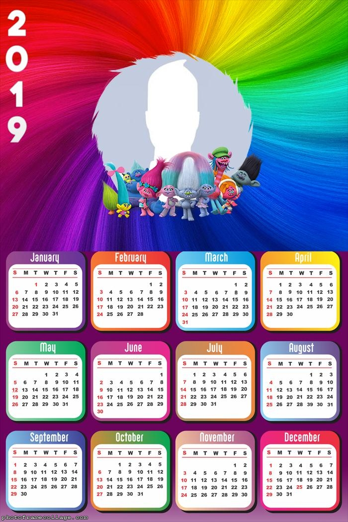 Trolls Calendar 2019