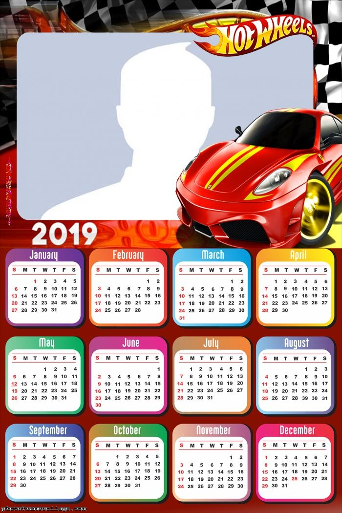 Hot Wheels Red Car Calendar 2019