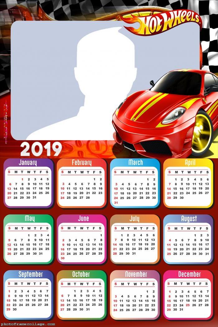 Hot Wheels Red Car Calendar 2019
