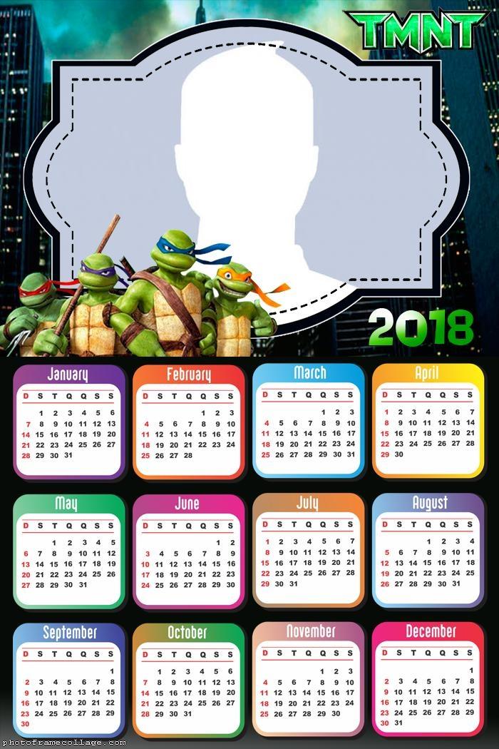 Calendar 2018 Turtles Ninja