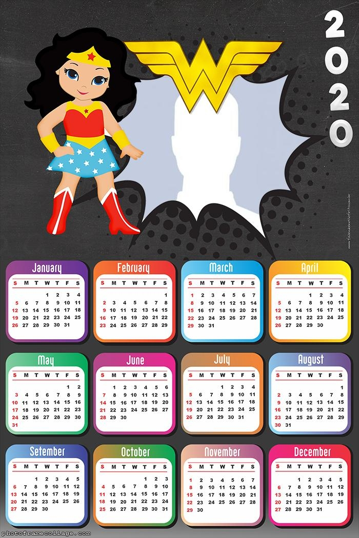 Wonder Woman Cute Calendar 2020