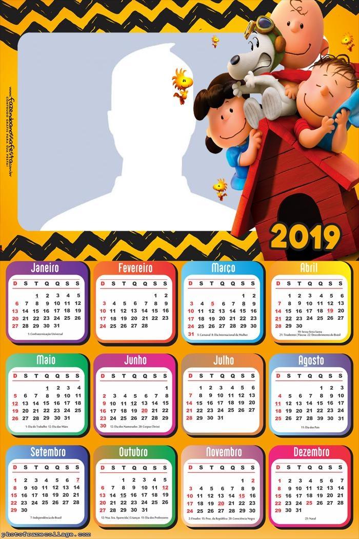 Snoopy Cartoon Calendar 2019 Photo Frame Collage