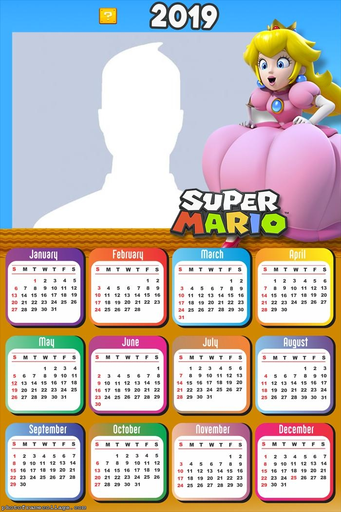 Princess Super Mario Calendar 2019