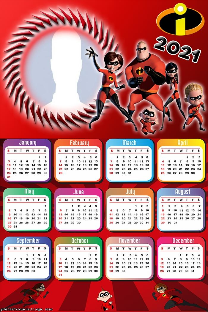 Calendar 2021 The Incredibles Cast
