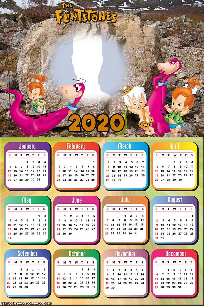 Calendar 2020 Dino Flintstones Photo Collage