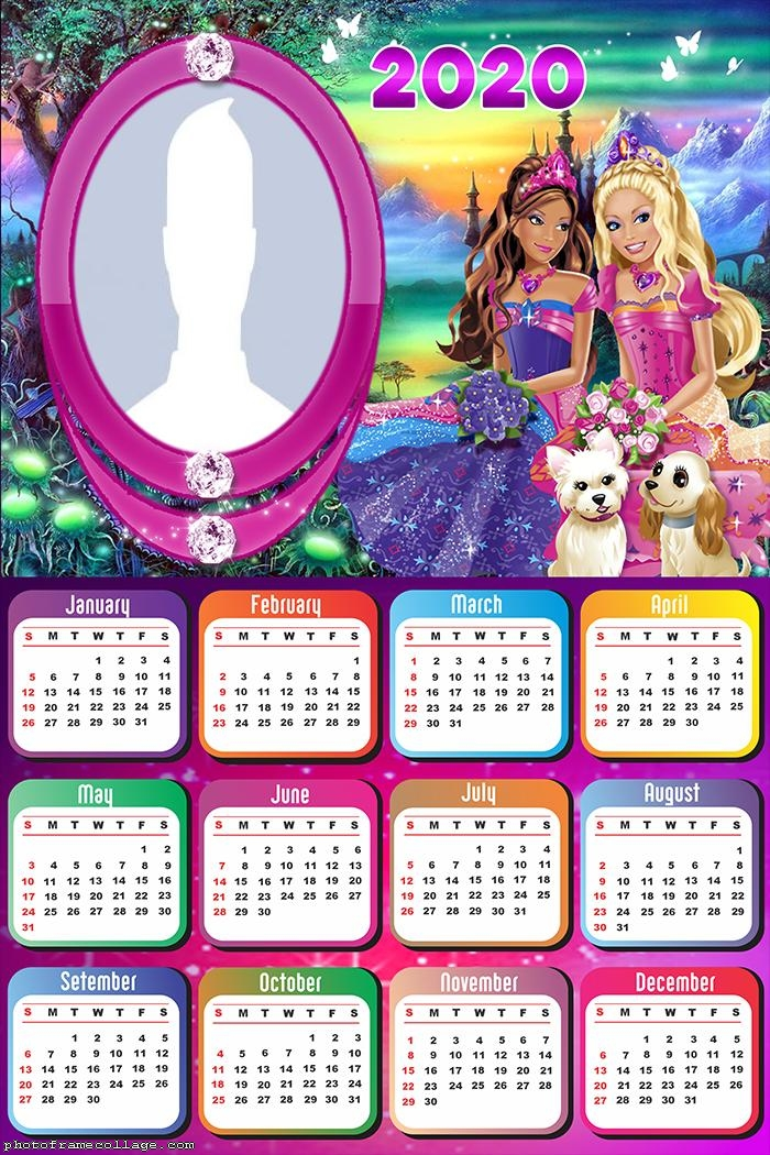 Photo to Collage Barbie Princess Calendar 2020