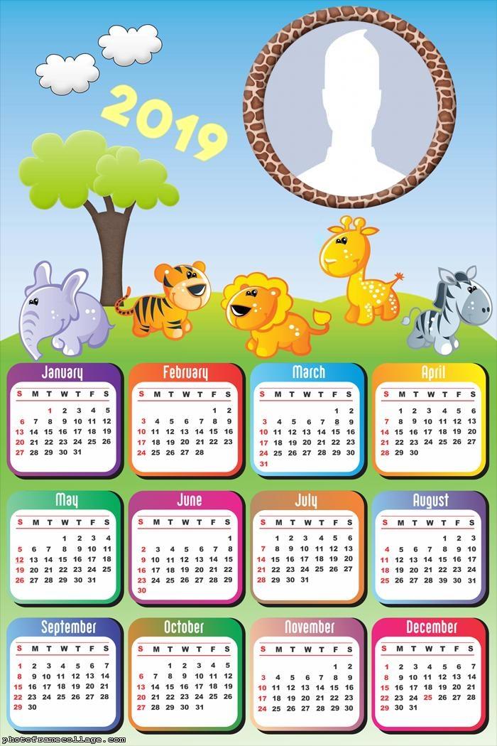 Safari Kids Calendar 2019