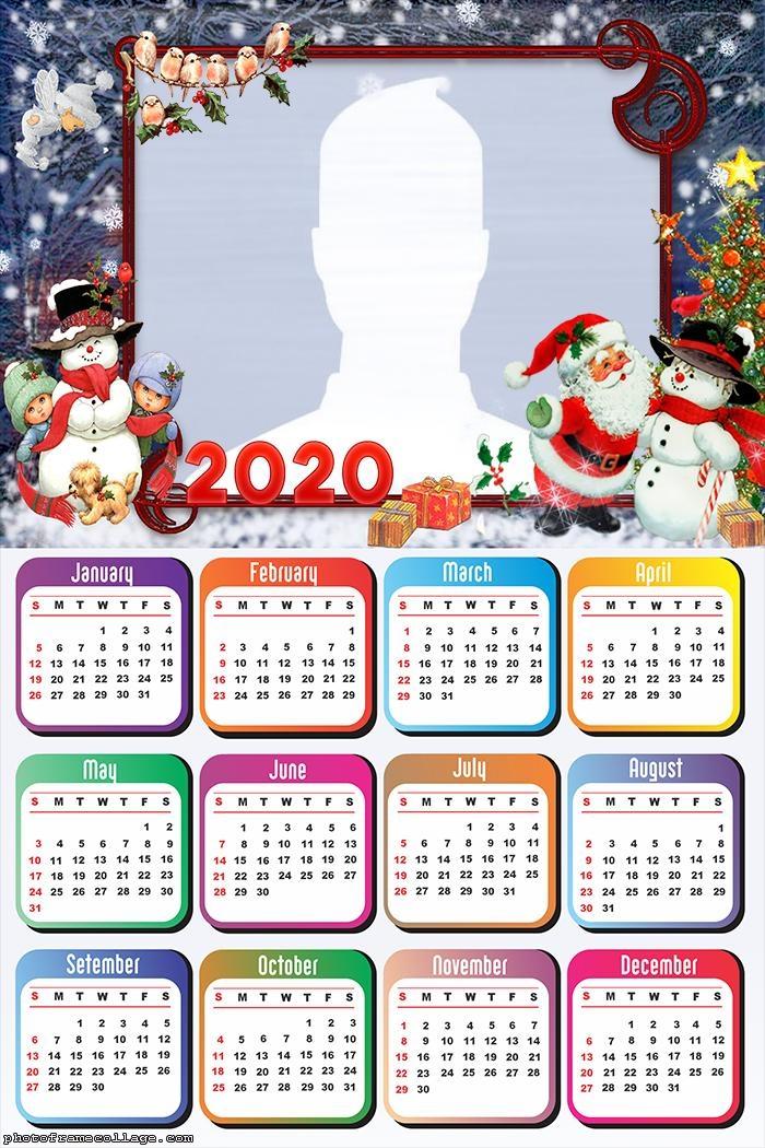 Santa Claus Snowman Calendar 2020