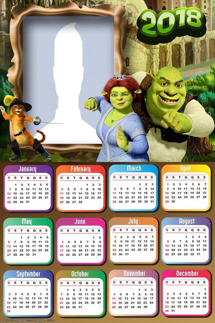 Calendar 2018 Shrek and Fiona