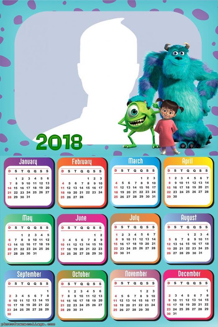 Calendar 2018 Monsters Inc