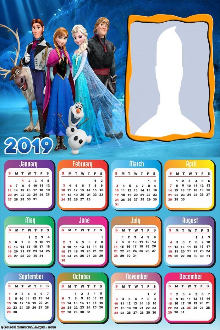 Characters Frozen Movie Calendar 2019