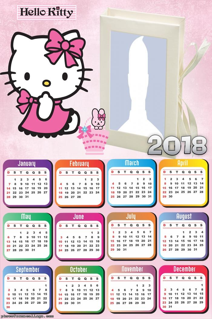 Calendar Hello Kitty Cartoon 2018